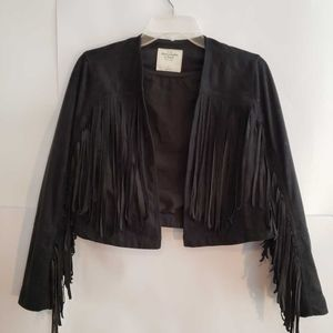 Abercrombie & Fitch Open Front Crop Fringe Jacket